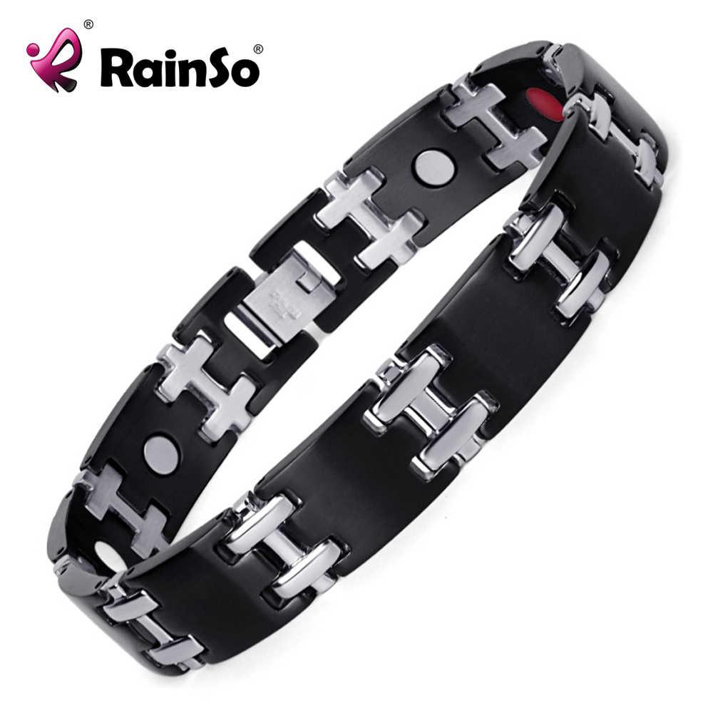 """Rainso נירוסטה בריאות אנרגיה צמיד לגברים עם גרמניום צמידי 8.5 """"לשפר את מצב תת בריאות"""