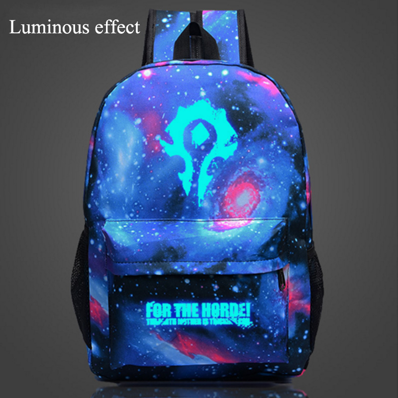 World of Warcraft backpack Glow bags Luminous Printing Backpack Teenage boy Animation Laptop Backpacks Female Bat backpack melba kurman fabricated the new world of 3d printing