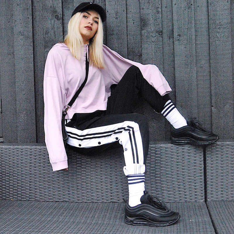 Gestreiften Jogginghose Weibliche Seite Taste Jogger Hosen Snap Hohe Split Öffnen Hosen Trendy Trackpants Frauen Street Style Harajuku