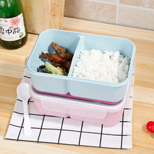 School Lunch Valley multi - Bento Box Plastic Containers with Compartments Spoons Portable Microwave Lunchbox