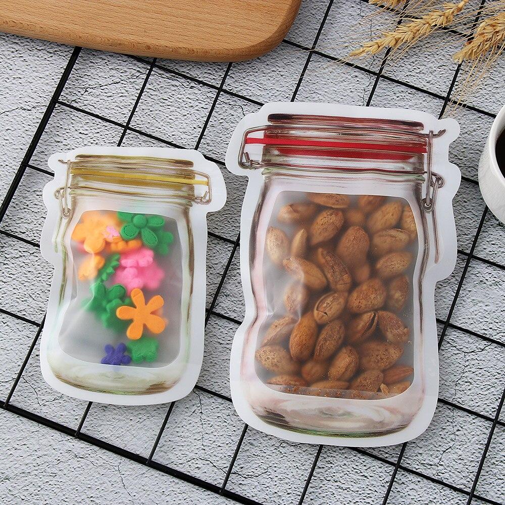 New Mason Jar PE Lock Pouches Food Storage Zipper Bags Smell Proof Useful Set