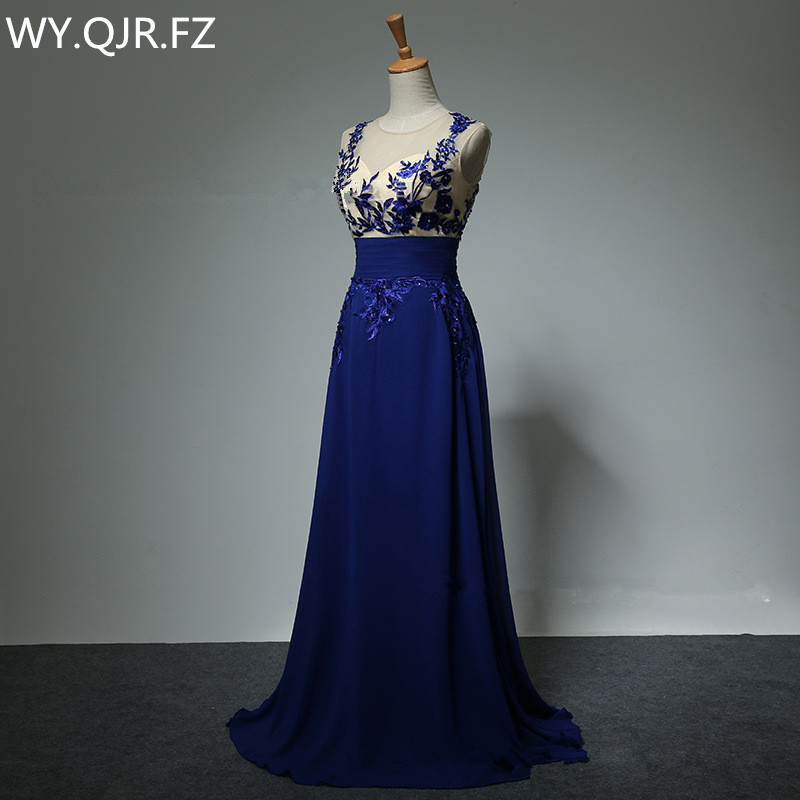 LAKD0329#New spring Lace Up Blue host bride toast dinner party prom   dress   2019 stage   Bridesmaid     Dresses   Custom Plus Size clothin