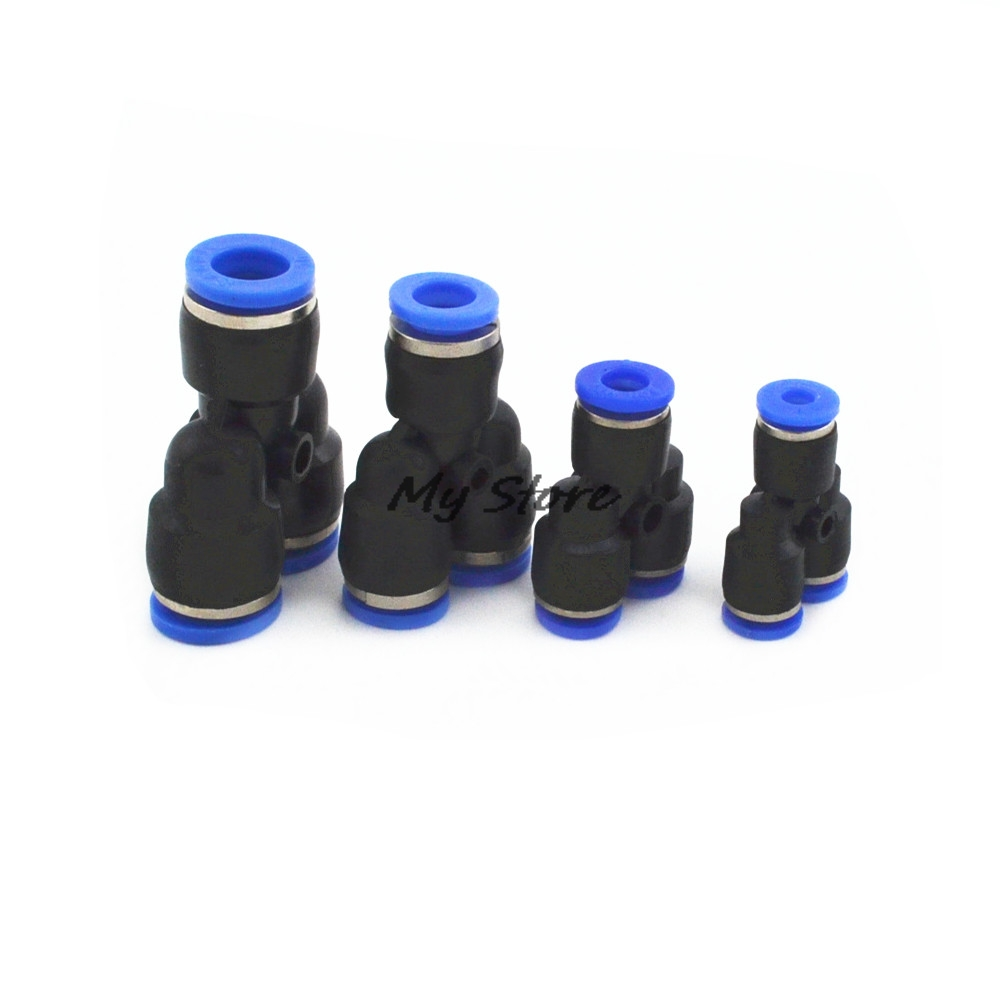 5Pcs Y Pneumatic Connector Tee Union Push In Fitting for Air Pipe joint OD 4 6 8 10 12MM