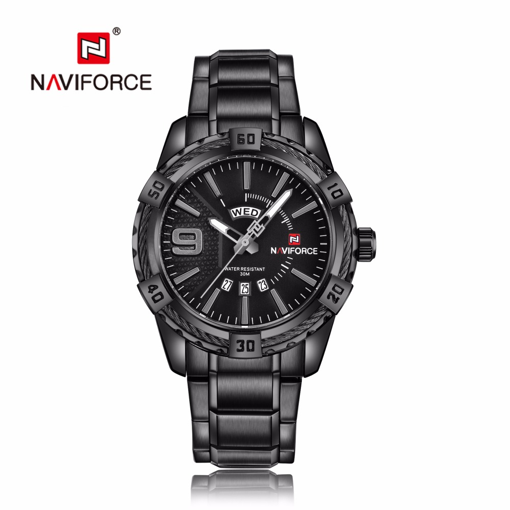 NAVIFORCE Watches Men Quartz Business Fashion Casual Watch Black Full Steel Auto Date Week Sport Military Wristwatches 9117
