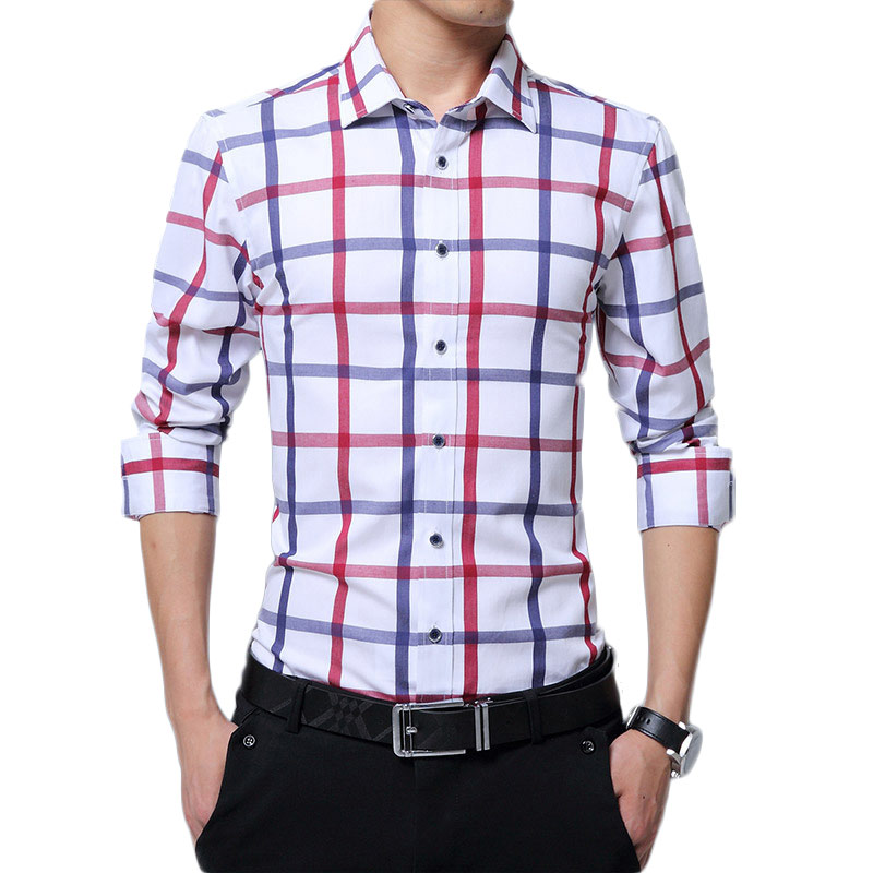 Men Plaid Shirt Long Sleeve Summer Shirt Brand Mens Check