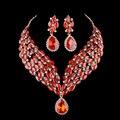 Declaração colar nupcial da jóia do casamento define bule de cristal Marquise cubic zircon cor strass conjunto de jóias Para O presente do partido