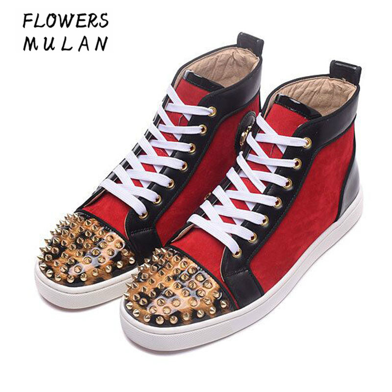 Handmade Designer Shoe Chaussure Homme Unisex Shoe Sequins Golden Spikes Casual Shoes Mens Red High Top Fashion Luxury Shoes Men 2016 canvas shoes men casual shoes men high top chaussure homme valentine to waterproof shoes summer boots 4 color unisex d084