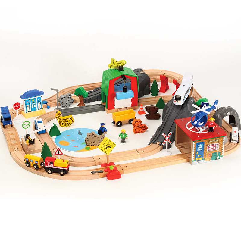 Wooden Trains Track Toys Set Magical