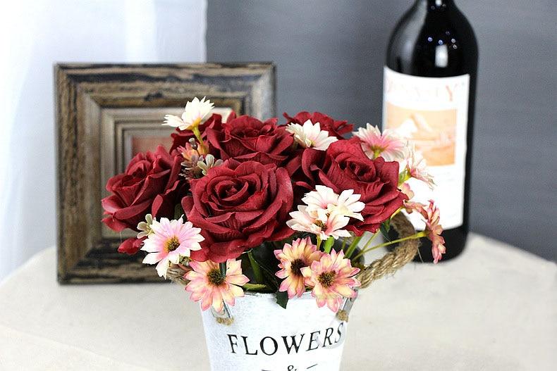 roses artificial flower bouquet wedding home decor (24)