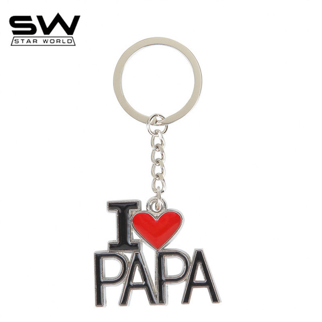 Starworld Creative Keychain I Love Papa Word Key Rings Charm Holder Resin Key Chain To Men