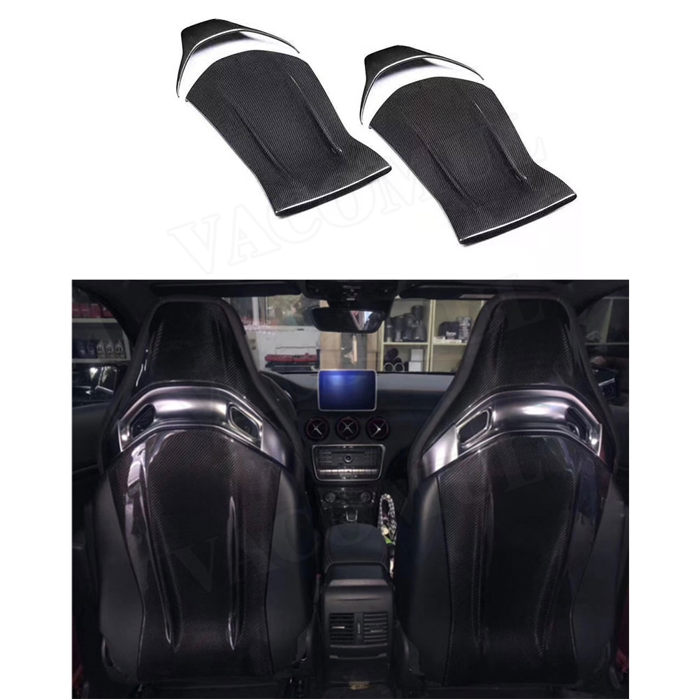 Carbon Fiber Seat Back Covers Interior Trim Stickers For Mercedes Benz A45 CLA45 GLA45 C63 AMG C43 E63 2012-2018 Car Styling