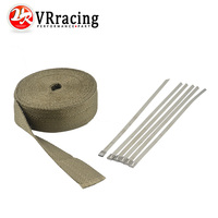 2 X 50 Premium Exhaust Heat Wrap Manifold Wrap Titanium Lava Fiber 6 Pcs Ties