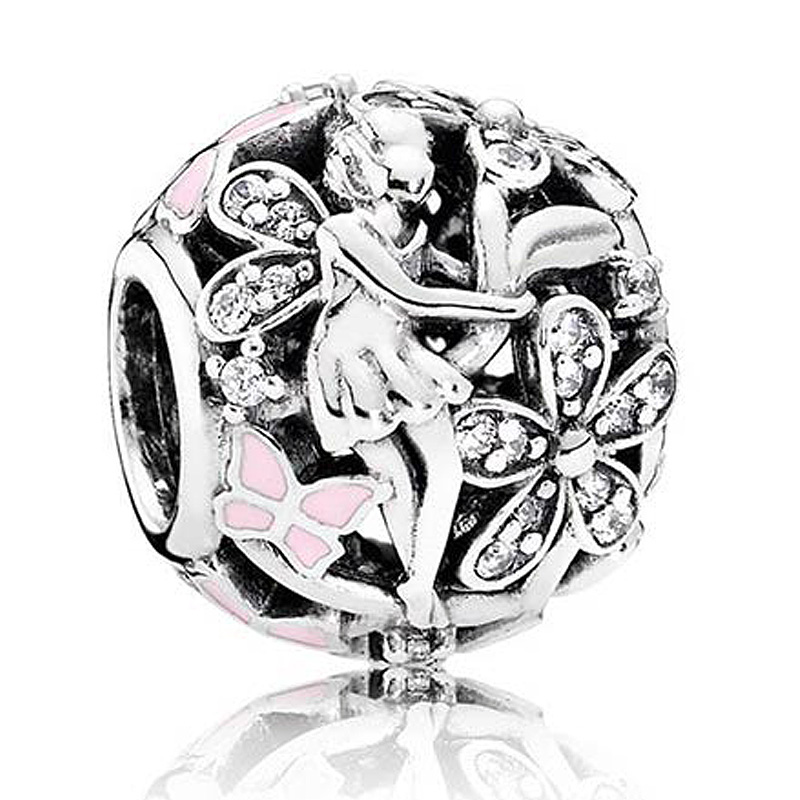 Authentic 925 Sterling Silver Charm Openwork Dazzling Daisy Fairy With Crystal Charms Fit Pandora Bracelet Jewelry