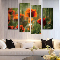 FOUR PC NO FRAME Orange Blossom Oil Painting Printed Oil Painting On Canvas Home Decor Wall