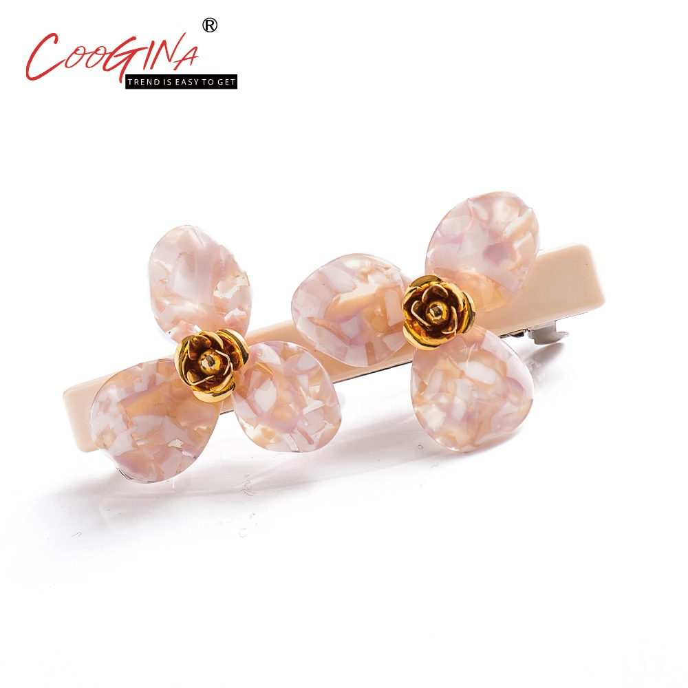 Coogina 2018 New High Quality Gold Stripe Flower Hair Accessories Barrettes French Fashion Women Hair Clip Ladis Hair Jewelry