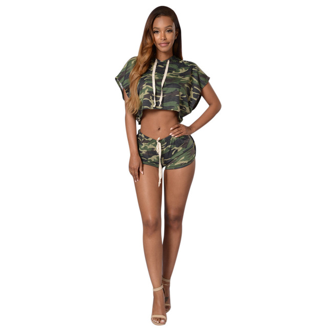 Girls Night Out Summer Outfit Women 2016 Female Mini Short Pants Arymy Style Hoodir Mini Top+Hot Legs Pants Fashion Clothes