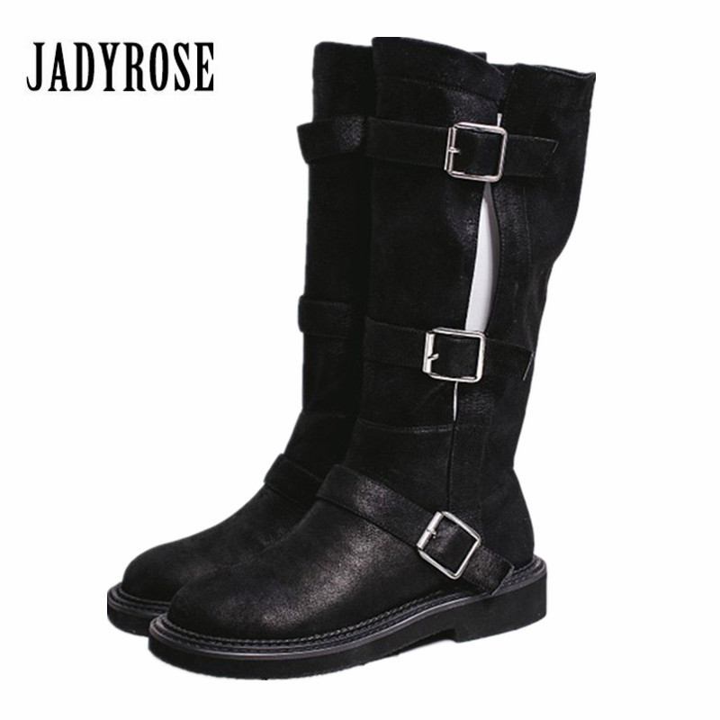 Jady Rose 2018 New Hot Punk Style Autumn Winter Women High Boot Black British Flat Platform Boots Buckles Design Martin Boots jady rose vintage black women knee high boots lace up side zip platform high boots thick heel flat martin boot for autumn winter