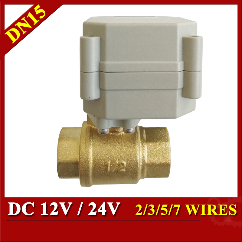 Tsai Fan DC12V 24V 1/2'' Electric motorized Ball Valve Brass DN15 Automated Ball Valve 2/3/5/7 Wires For Water Automatic Control цена