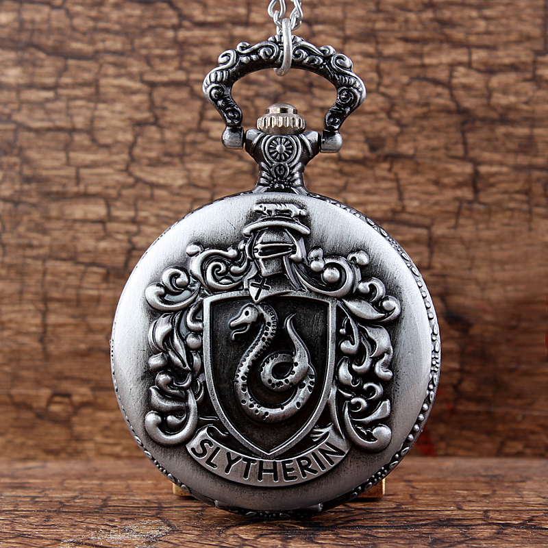 Gorben Slytherin Snake Steampunk Quartz Pocket Watch  Hogwart Silver Golden Snitch Chain Pendant Women Gift