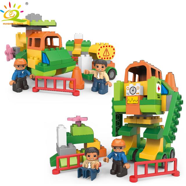 HUIQIBAO 61pcs DIY Big Size Jungle rescue Transformed Robot Building Block Compatible Duploed City Figure Brick Toy For Children