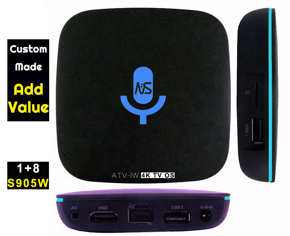 10pcs Custom Made ATV-IW S905W 4K Voice Control Smart Android TV OS box Streaming Box Support Google Play Youtube Netflix