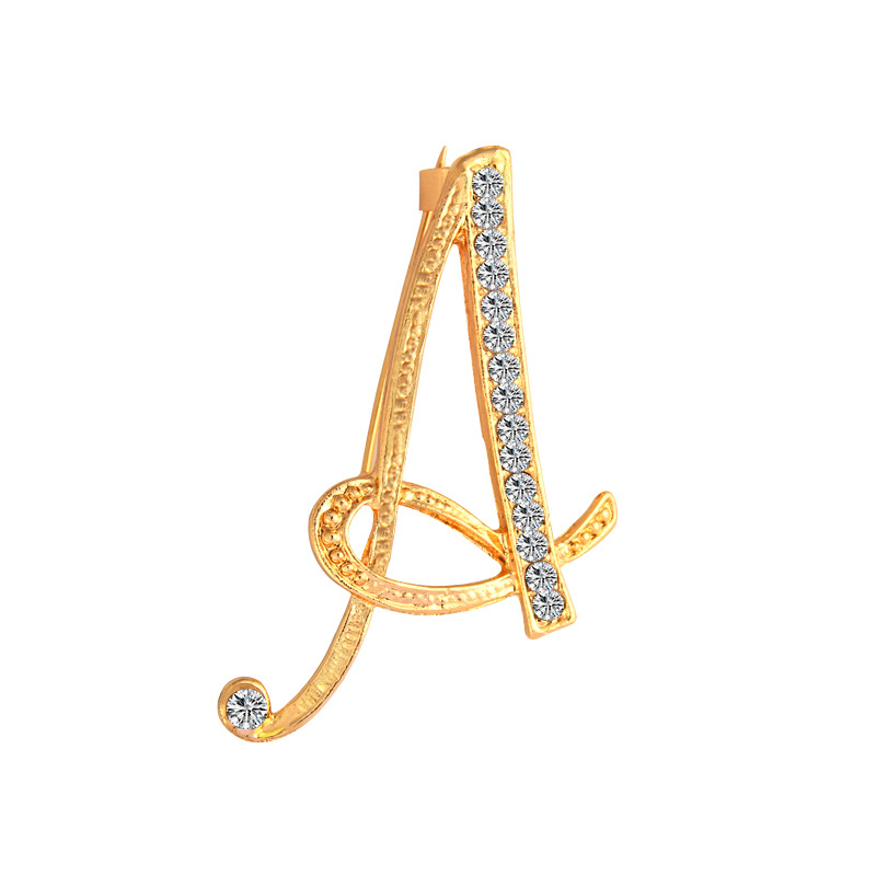 Pin By On C A R S: SHUANGR New Rhinestone Crystal Brooches Gold Color Initial