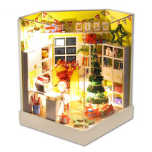 Merry Christmas Day DIY Dollhouse With Furniture Light Cover Gift Decor Collection Wooden DIY Handmade Box Theatre Miniature Box(China)