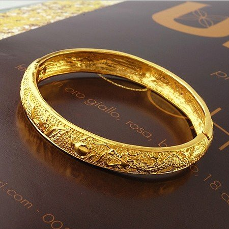 Quality Women S 24k Yellow Gold Plated Dragon Pattern Bangle Bracelets