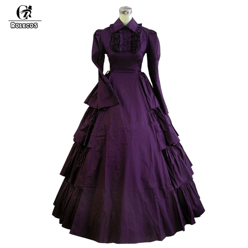 ROLECOS 2 couleurs victorienne longue robe pour les filles classique noir Lolita à manches longues robe femmes Renaissance robe de soirée 2018