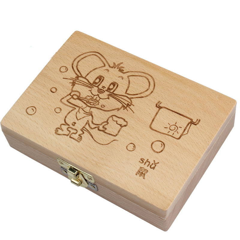 Tooth Box organizer for baby save Milk teeth Wood storage box great gifts 3-6YEARS creative for kids Chineses zodiac RAT logo wood wooden box baby milk teeth box wood storage box great gifts 3 6 years creative kids childhood memory car image