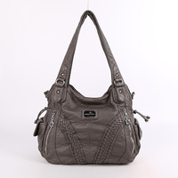 Fashion High Quality Casual Designer Hobos Tote Handbag Women Bags Washed PU Leather Shoulder Sling Bags for Ladies