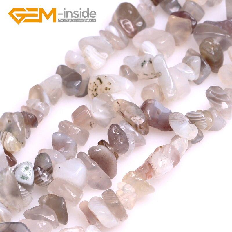 """Frete grátis! 6 — 7mm Botswana Ágatas Pedra Natural Chips Contas Loose Para Fazer Jóias Beads Strand 34 """"Pulseira Jóia-no interior"""