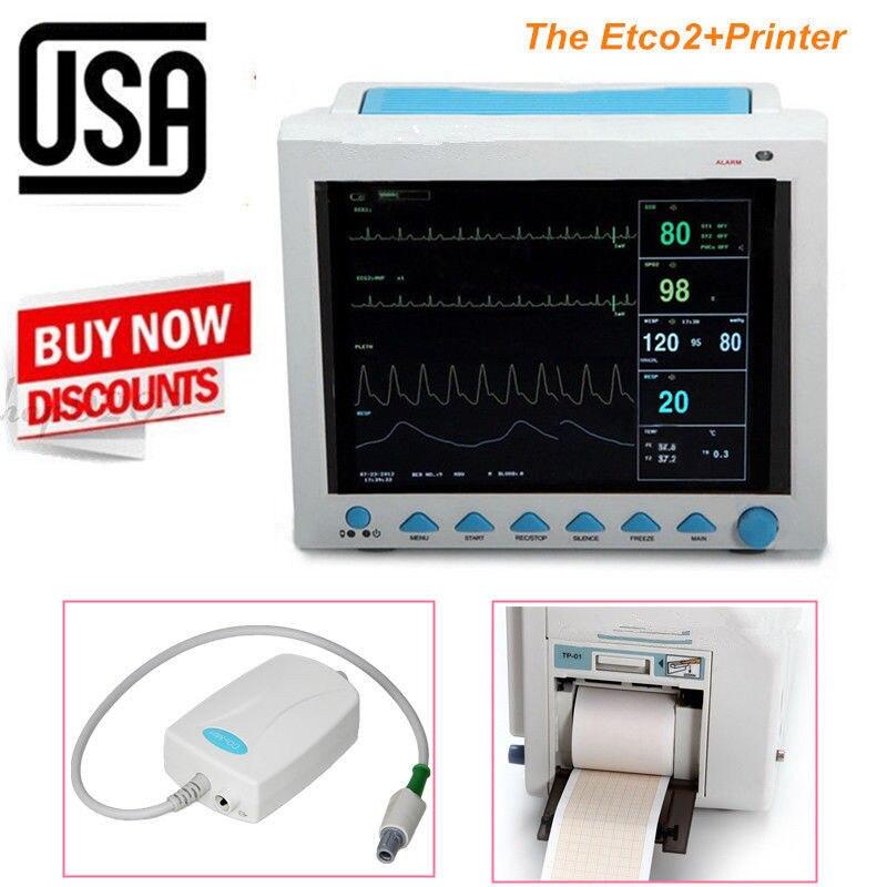 US 7-Parameters Vital Signs ICU Patient Monitor+Capnography ETCO2+Printer FDA CE ce vet veterinary icu patient monitor 6 parameters contec cms6000 etco2 printer