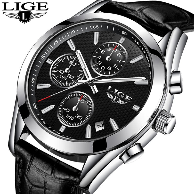 LIGE Watches Men Luxury Brand Quartz Leather Waterproof Casual Sport Watch Military Clock Men Relogio Masculino Erkek Kol Saati ccq brand fashion men leather quartz watches casual business sport male clock waterproof military wrist watch relogio masculino