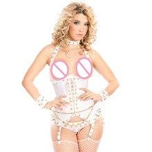 New Design White Rivet Sexy Adult Bodysuit Teddy Rivet Halter Lingerie Two Pieces Novelty Exotic Apparel Women Club wear W850774