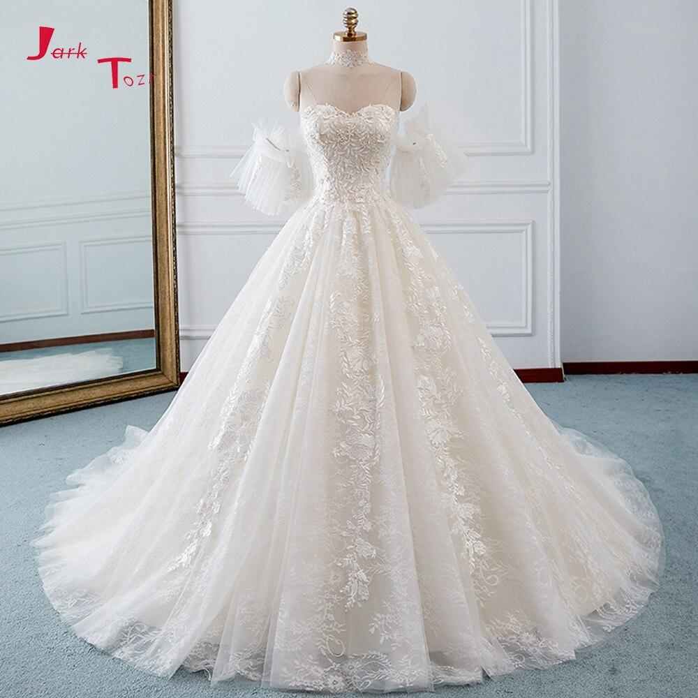 Jark Tozr Robe Princesse Mariage Lace Inside Vintage Ball Gown Wedding Dresses Long Sleeve 2019 Illusion Back Traje De Novia Weddings & Events