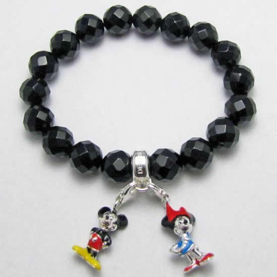 Thomas Style Black Faced Crystal Mickey Mouse Strand Bracelet,European Women Jewelry Wanita Bijoux Christmas Gift Super Deals
