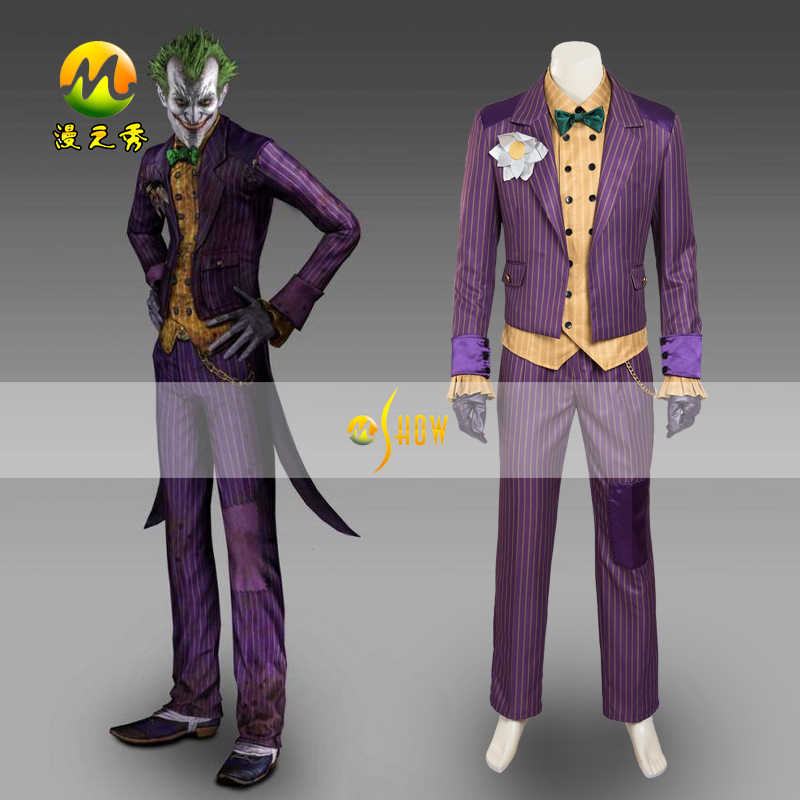 Jokerr Costume 2019 Adult Suit Outfit Halloween Cosplay Party Outfit Arkham Asylum Suit for Men