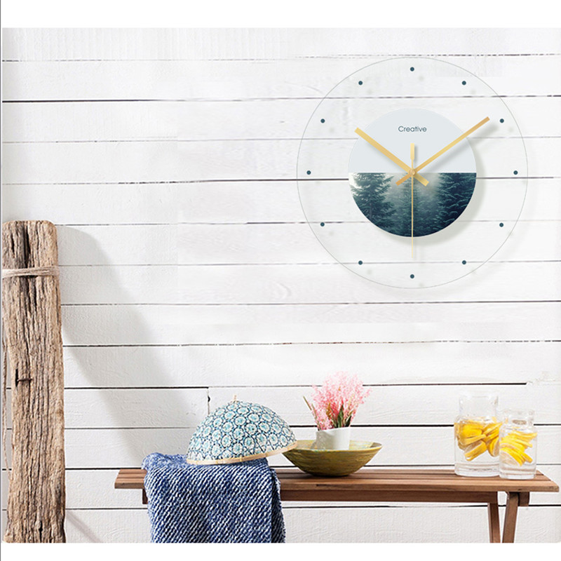 Green plant flower decoration wall hanging room clock (9)