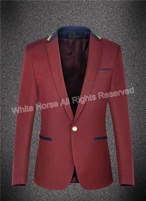 Costume Homme Burgundy Mens Blazer Slim Fit cappotto font b jacket b font blazer hombre male