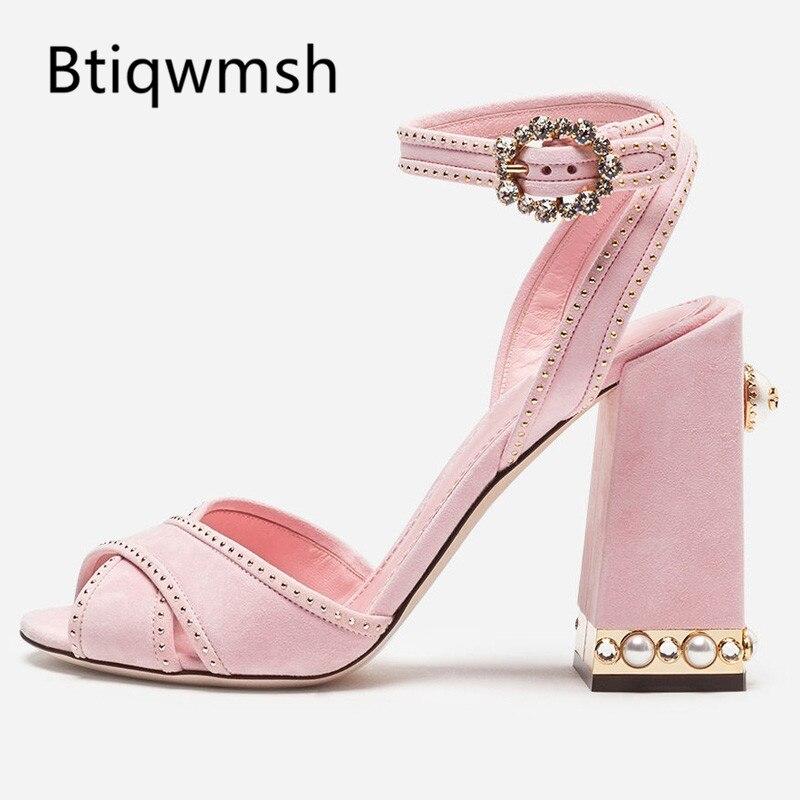 2019 Rosa dulce gladiador Sandalias Mujer Peep Toe de hebilla de diamante de imitación remache zapatos de tacón alto de moda de las mujeres zapatos de fiesta-in Sandalias de mujer from zapatos    1
