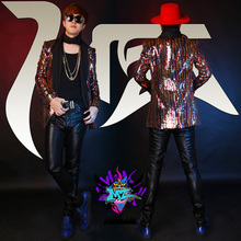male sequins costumes tide cool outfit blazer jacket outwear male clothes for singer dancer star stage