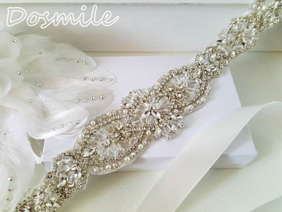 Beaded 46 cm length rhinestone applique wedding belts and sashes crystal stone bridal belt for formal evening gowns dresses
