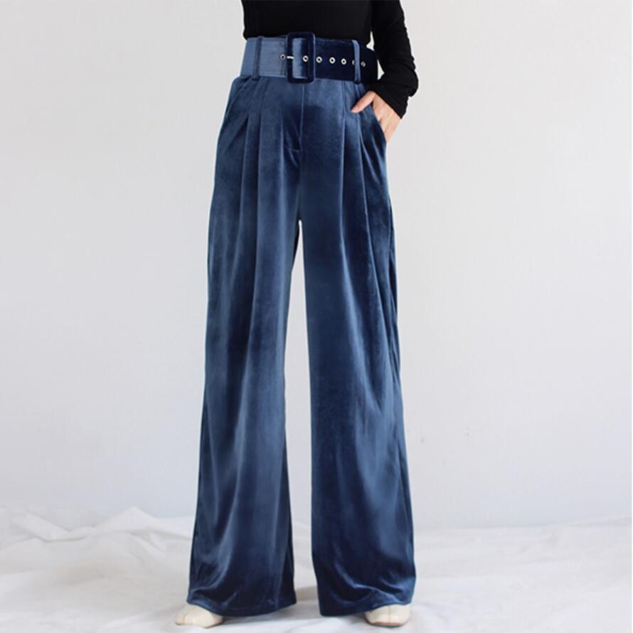 Velvet   Wide     Leg     Pants   Women High Waist Belted Loose Trousers office lady