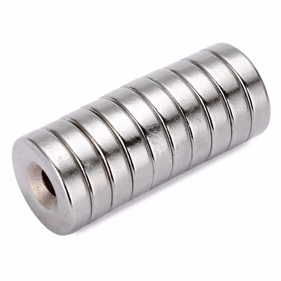 10pcs N50 Neodymium Magnet 5mm-hole Round Permanent Ring Magnets With Hole 20x5mm diy 5mm round neodymium magnets purple 216 pcs