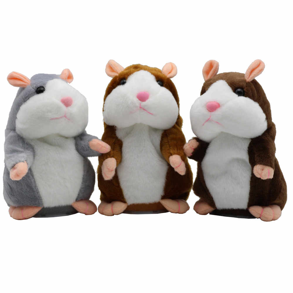 Novo Falar Hamster Rato Pet Plush Toy Hot Speak Bonito Falar Sound Record Hamster Toy Educacionais para Crianças Presentes 15 cm