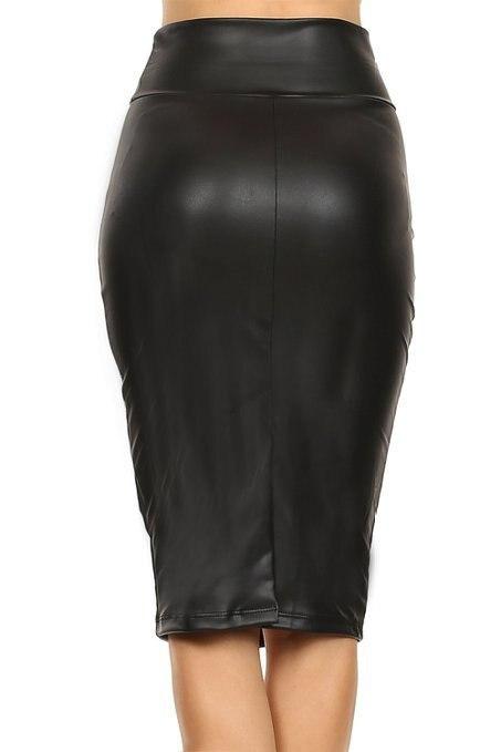 Customize Casual Female Saia Lapis Midi Couro Womens Big Plus Size XXS 5XL 7XL Vintage Tropical Black Fake Leather Pencil Skirts
