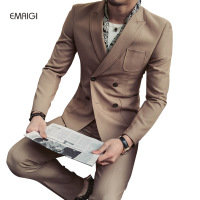 Stretch Fabric Suit Men 2 Pieces Suits Male Slim Fashion Business Casual Double Breasted Suits Groom