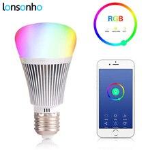 LonSonHo inteligente wi-fi luz led lamp bulb E27 Dimmable RGB Colorido controle remoto de automação residencial inteligente módulos google casa alexa