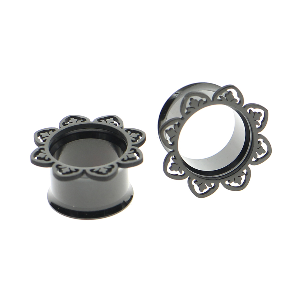 2017 Stainless Steel Anodized Black Mandala Double Flare Unscrewed Ear  Tunnel Plug Gauges Ear Expander 8